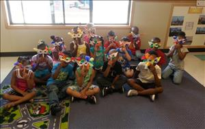Prekindergarten Classroom displaying their beautiful Mardi Gras masks