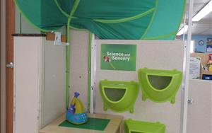 The science corner is a great place to explore science and sensory concepts.