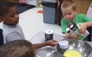 By using standard and non standard units of measure, our kindergartners were able to create a muffin cooking project!