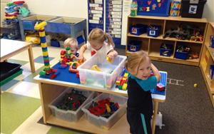 In Discovery Preschool the children enjoy building elaborate structures in our block area. This activity allows the children to work on their social skills, imagination and their fine motor skills.