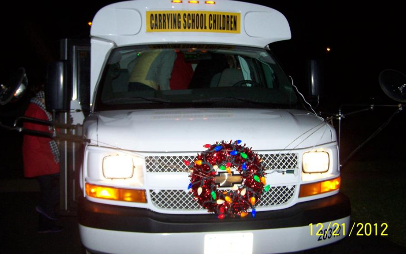 The KinderCare bus all decked out for caroling!