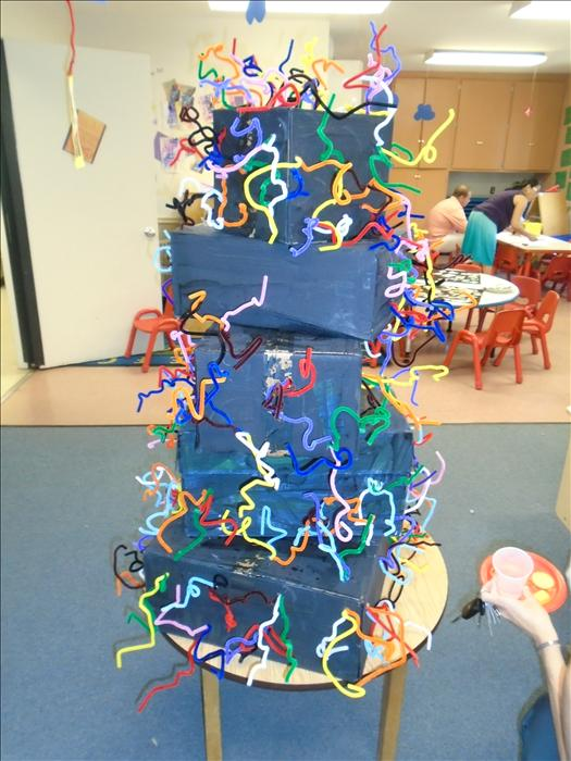 Preschool 1 worked hard on their modern art structure for our school art show!