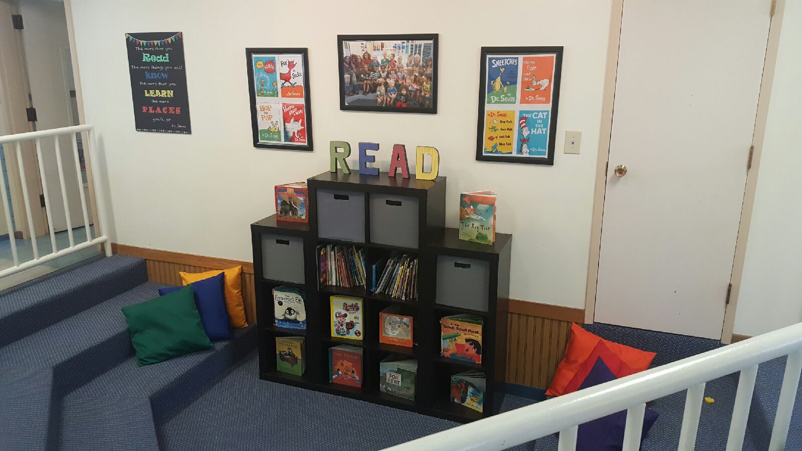 Our center library is a community area for all classrooms to visit and checkout books.  We use this space to increase literacy and create a common interest with every classroom.