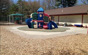 The preschool and school age climber on the fully gated playground!