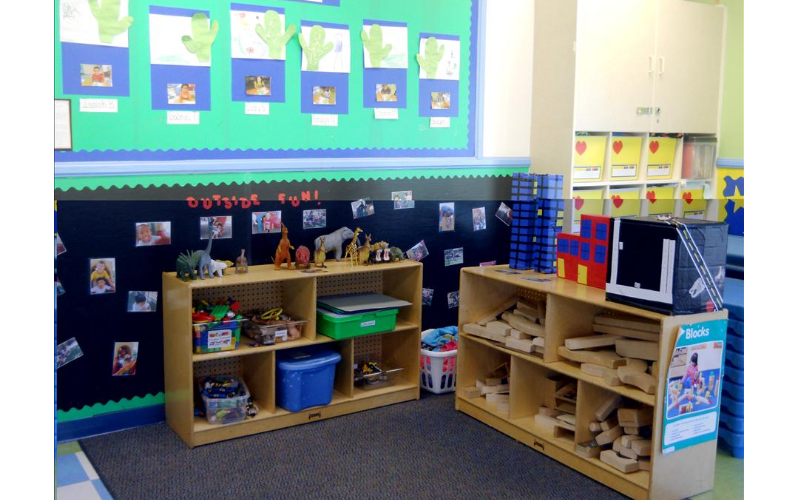 Prekindergarten Blocks Center: Encourages children to cooperate and collaborate in group activities.