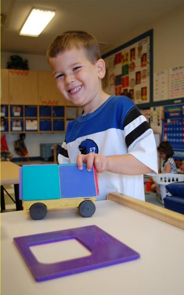 We learn through play here at KinderCare.  Children have many opportunities to play, explore, pretend, build and be social with their classmates.
