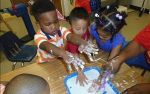 The Discovery Preschool class loved doing a science experiment!
