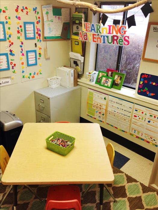 Learning Adventures Classroom - Phonics and Math Enrichment classes take place in this learning rich environment.