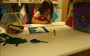Children are encouraged to explore their creativitiy while learning to write in our writing center.