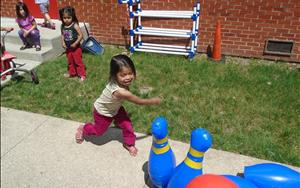 Our Preschool Students had a lot of fun bowling outside!
