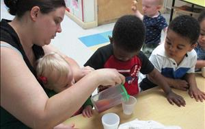 Self help skills are always developing as our toddlers are learning to pour.