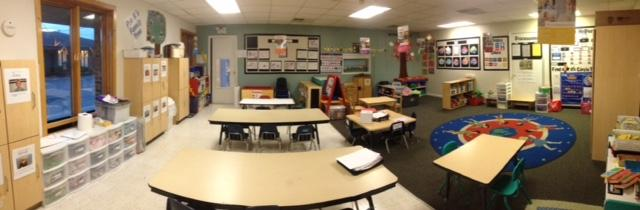 Here's our Pre-Kindergarten classroom.  Our 4-5 year olds spend their time getting prepared for school in this room.