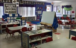 Our Preschool Classroom is divided into learning centers for math, writing, art, language, science and more!