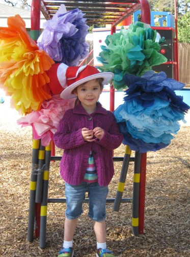 Sophia hanging out by the Truffula Trees at last year's Dr Seuss Day.