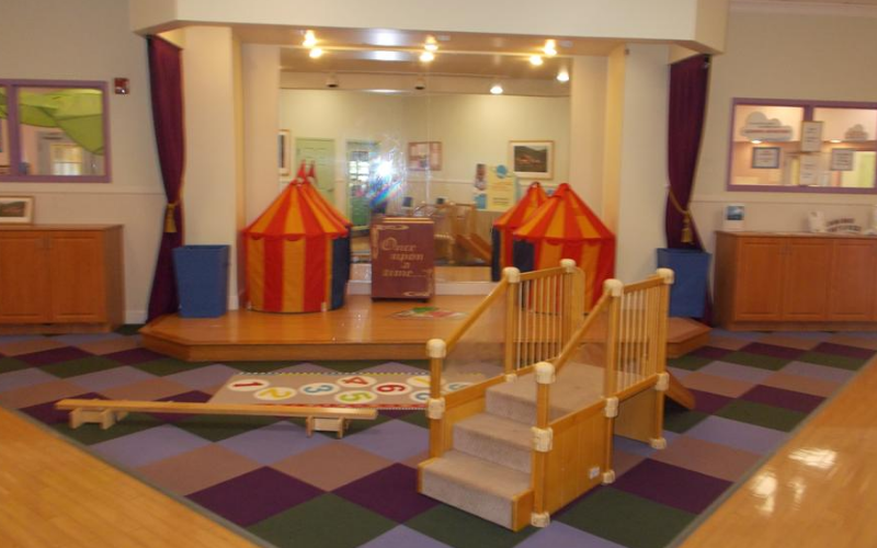 We have a wonderful space for our children to put on performances, and host events throughout the year. The space is also converted to an indoor gym area when the weather is bitterly cold.