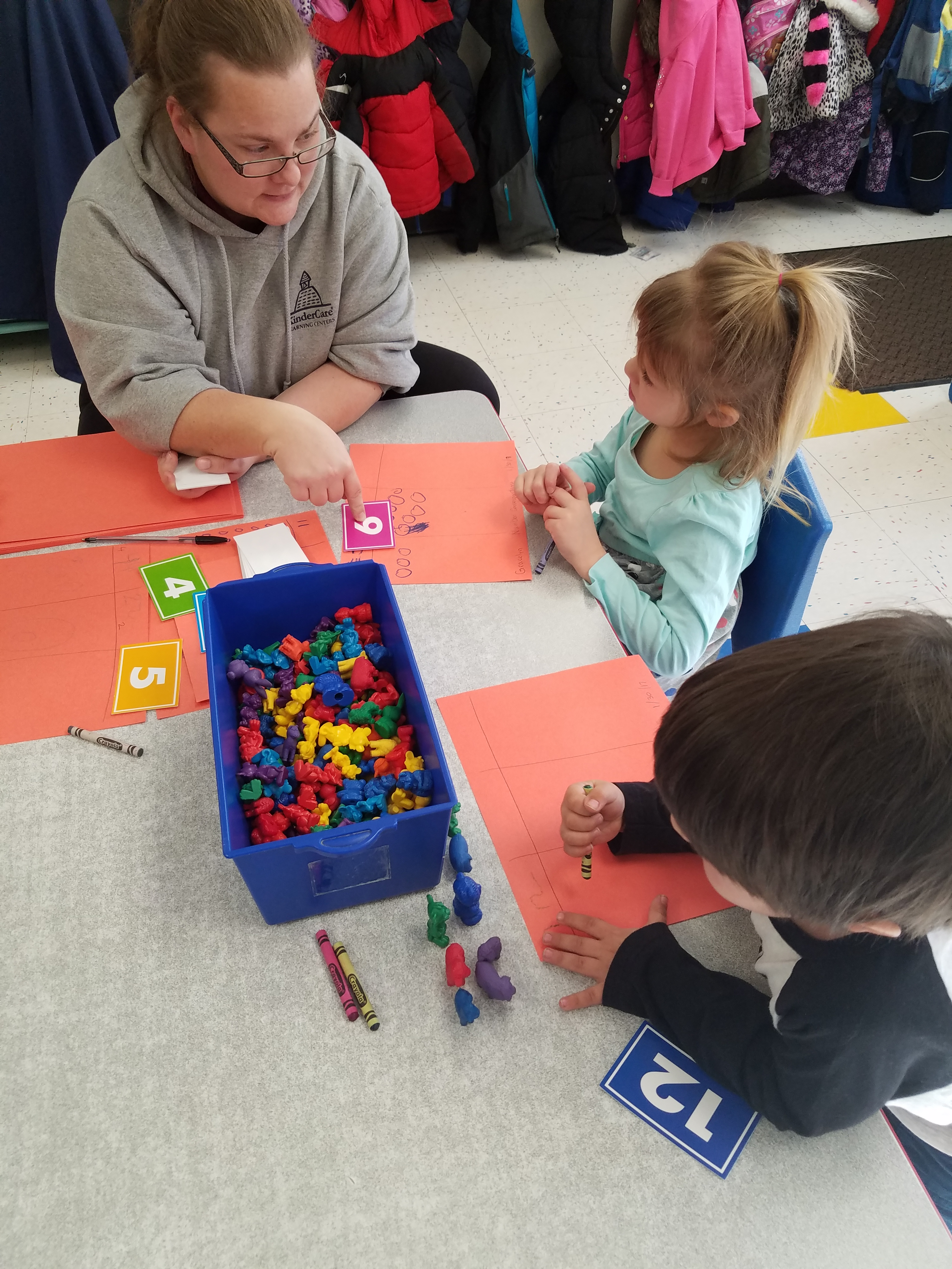 Fun with early math skills in our prekindergarten classroom !