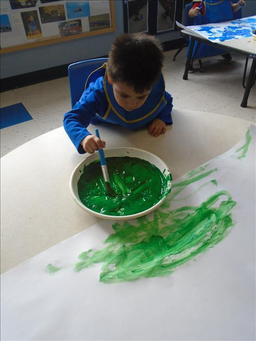 Using find motor skills while painting