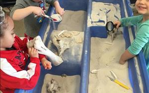 Our preschool class involved in a fossil dig during our 'Dinosaurs' unit