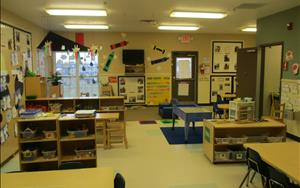 This is our Discovery Preschool Classroom. Children in this room range in age from 2 and 1/2 to 3 years old. We like our rooms to be visually stimulating for children to make learning fun and exciting!