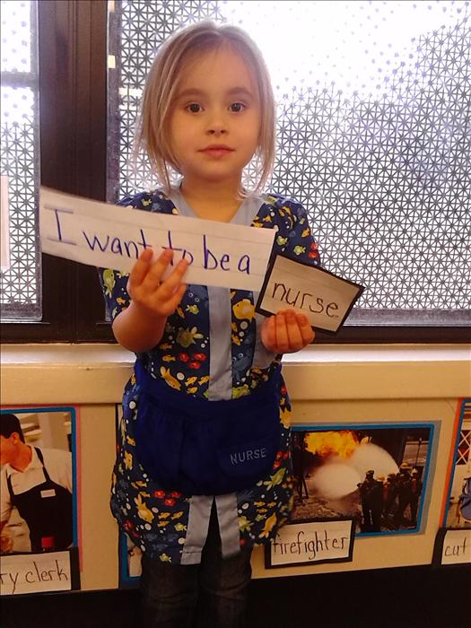 During Our Community the children were able to dress up and play what they want to be when they grow up!  Acelya wants to be a nurse!