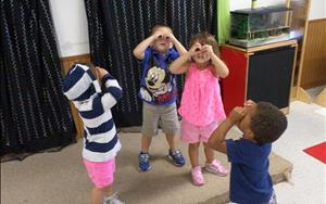 "Checking things out with our ""binoculars"""