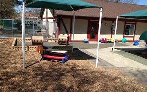 Our toddlers love enjoying snack or lunch outside at the shaded picnic area on nice sunny days!