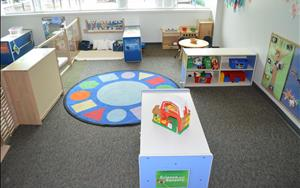 Toddler classrooms have distinct learning centers where children can enjoy dramatic play, the arts, science and sensory play.