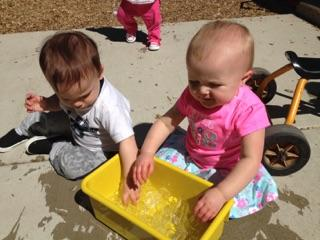 Our Infant classroom enjoying water day!