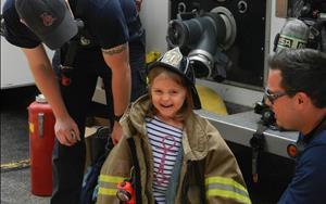 Firefighters came for a visit to talk about safety and let us try on their equipment!