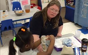 Our Pre-K teacher, Ms. Denise, encourages the use of all five senses to explore different materials and environments.  Children relfect on and respond to open-ended questions, engage in representational thought involving symbols and pretend play, and experiment with beginning concepts in spatial relationshis and geometry.