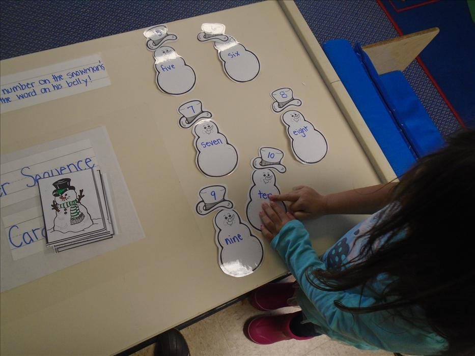 Preschool - Matching the snowman numbers