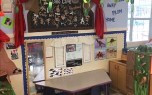 Our Dramatic Play area in Preschool was transformed into a Dinosaur cave for our Dinosaur theme