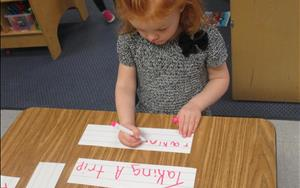 Each classroom works on writing skills. In the Prekindergarten classroom, not only do we practice writing our names, but also many other words we are learning about.