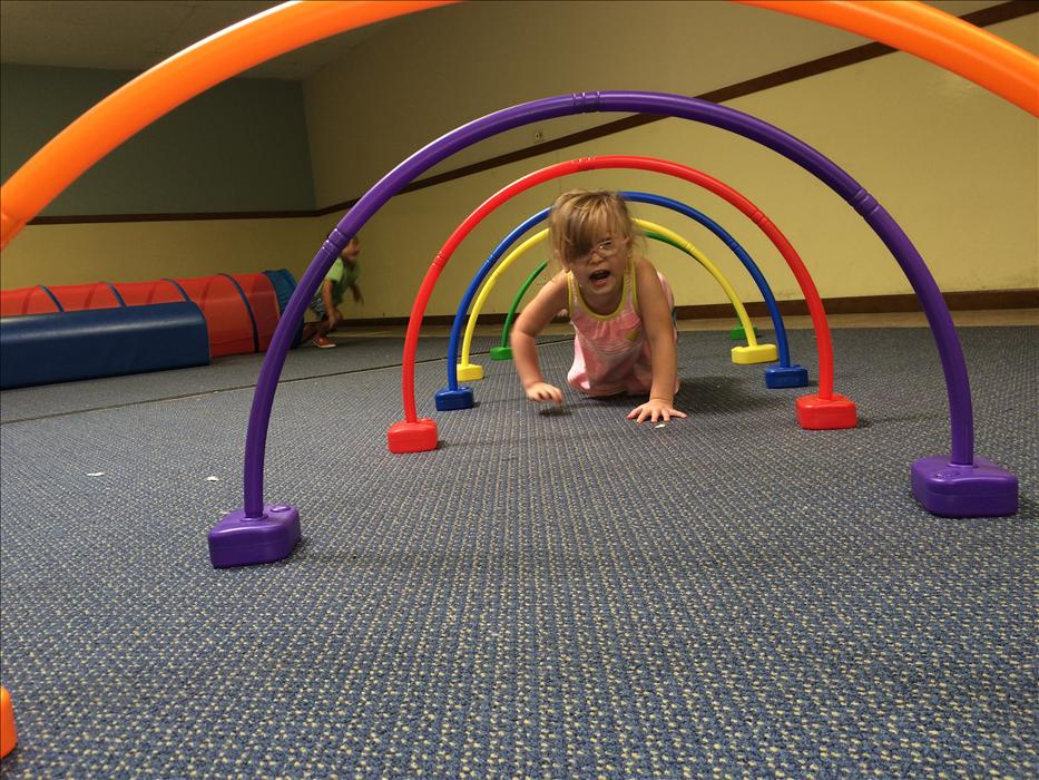 Our indoor gym allows for our classrooms to enjoy gross motor play