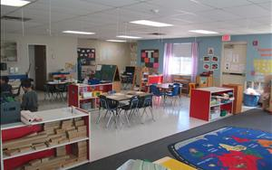 Our Transitional Kindergarten, Kindergarten, and School Age Room is big enough for everyone to learn!