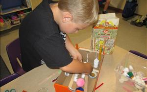 "Diorama making after reading the book ""The Borrowers"""