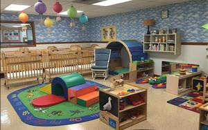 Our Infant B classroom allows children who are more mobile to practice new skills such walking, crawling. It is also the classroom to transition to family style eating!
