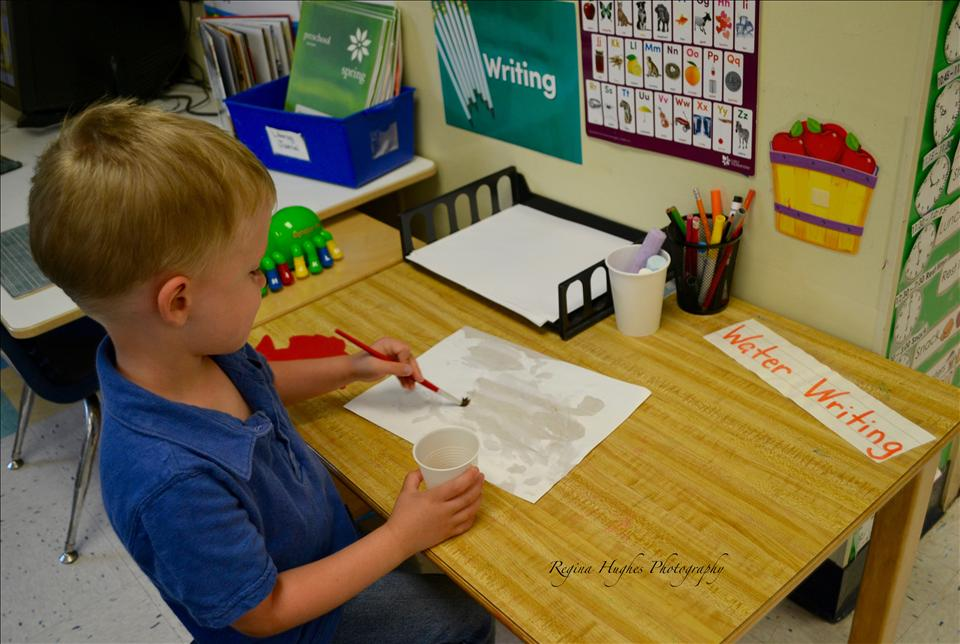 Preschool - Writing is not just limited to a pencil in our Preschool classroom.