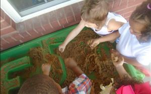 Our twos class is learning about MUD for Wet and Messy Wednesday!