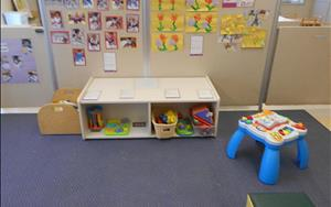 Our infant classroom play area. The infants loved learning about gardening, insects and flowers! Pictures and artwork are on display in the classroom for our infant parents.