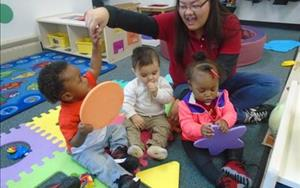 Ms. Ka Lia interacting with her babies and learning about shapes and colors!