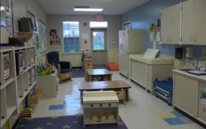 Wobblers is our young Toddler classroom.  For ages 1-1.5, we start toddlers out in a smaller ratio, preparing for the Toddler room.