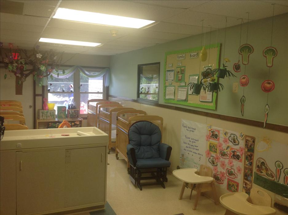 This our infant room. This room will bring you many first memories and milestones.  We follow safe sleep guidelines for the infants. Miss Pearl and Soudi together have over 30 years of experience to nuture your little one. We will do a monthly activity plan for your infant to help with their development.