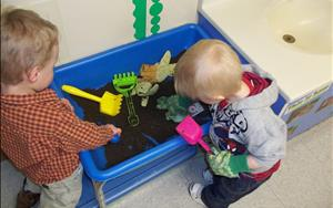Sensory play is an important part of our curriculum and allows children to experience different textures and smells.