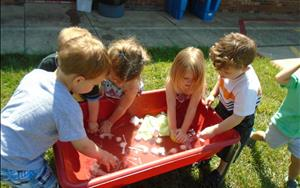 Our preschool class learned about which objects sink or float during the water unit.
