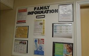 Our Family Information Board helps families stay informed about center practices and events.