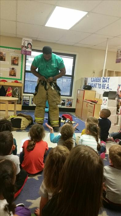 In our Preschool class the theme was Our Community.  We invite parents to come in and talk to the children about their careers.  The children learned that Taylor's daddy is a firefighter!