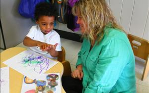 Ms. Lisa incorporates early math skills using an art project in her Toddler Room!