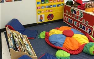 Discovery Preschool Toddler 1 classroom's Language Area where your child will have morning group, read stories or relax with a friend.