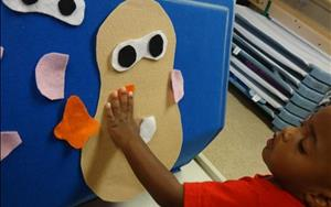 "During our ""All About Me"" theme, toddlers explored expressions with our felt board."